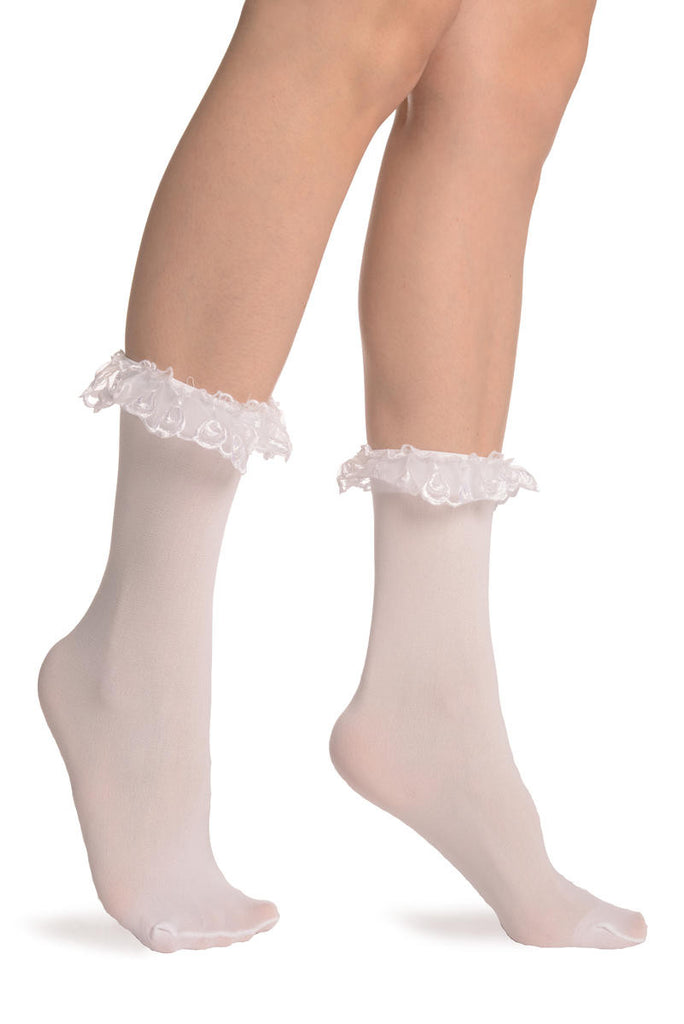 White Opaque With White Lace Ankle Hight Socks 60 Den