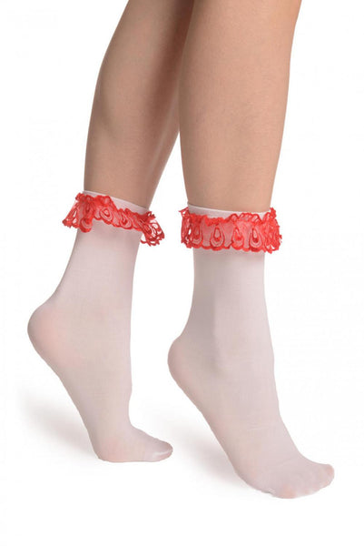 White Opaque With Red Lace Ankle Hight Socks 60 Den