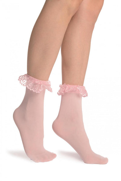 Pink Opaque With Pink Lace Ankle Hight Socks 60 Den