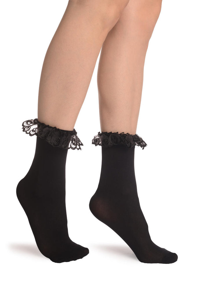 Black Opaque With Black Lace Ankle Hight Socks 60 Den