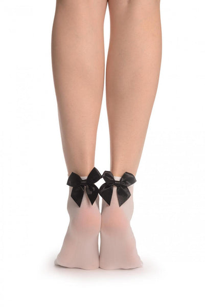 White Opaque With Black Satin Bow Ankle High Socks 60 Den