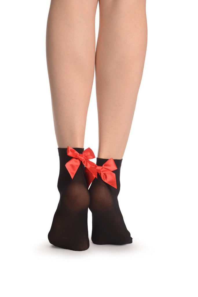 Black Opaque With Red Satin Bow Ankle High Socks 60 Den