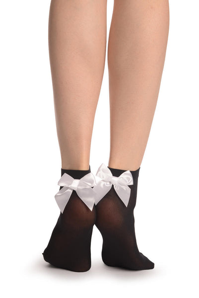 Black Opaque With White Satin Bow Ankle High Socks 60 Den