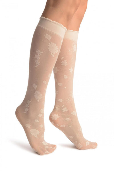 Beige Opaque Flowers On Micro Mesh Knee High Socks