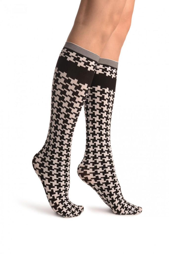 Houndstooth Black White Knee High Socks