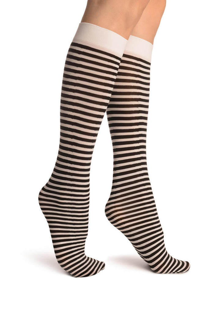 Black & White Thin Stripes Socks Knee High