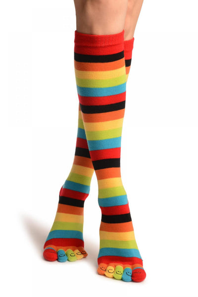 Red, Green & Yellow Stripes & Printed Smiles Knee High Toe Socks