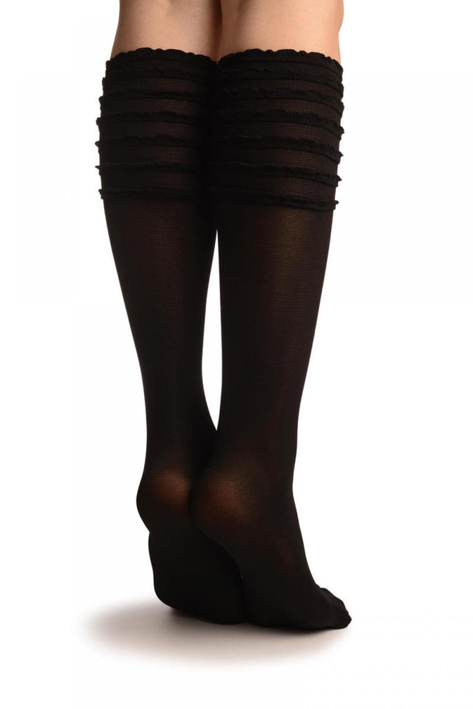 SO002859 Black With Frilly Top Knee High Socks
