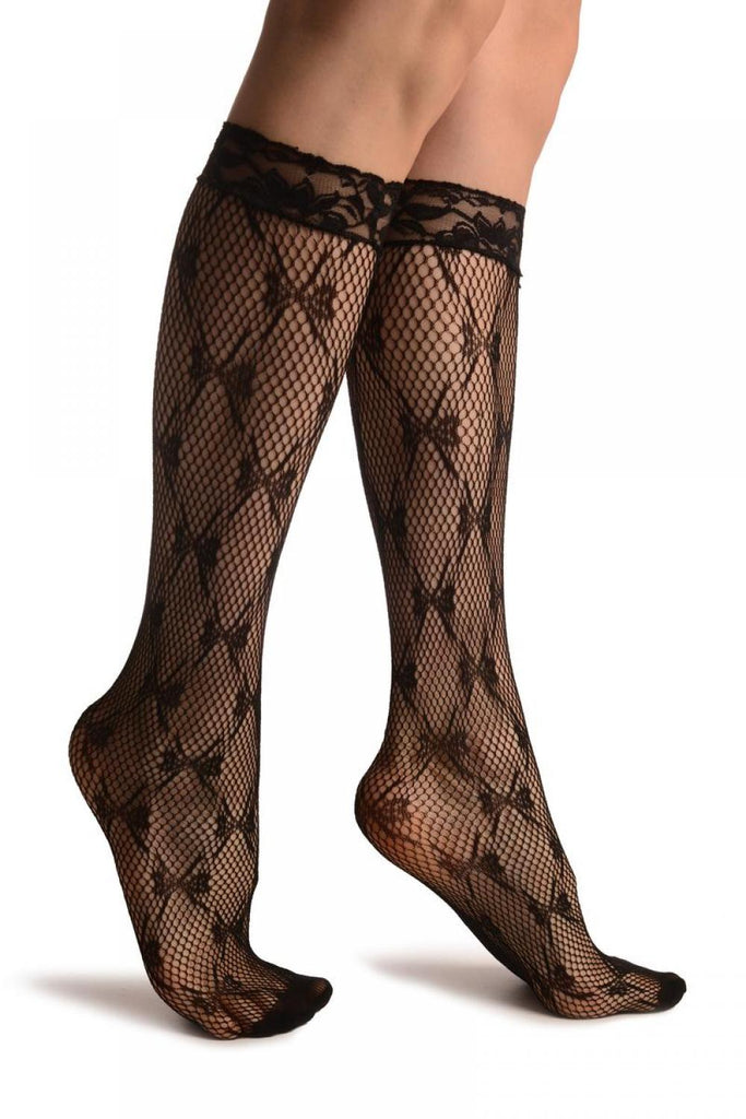 Diamonds With Bows Black Lace Knee High Socks
