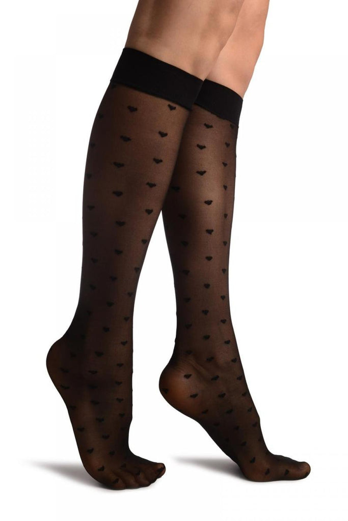 Black With Little Hearts Knee High Socks