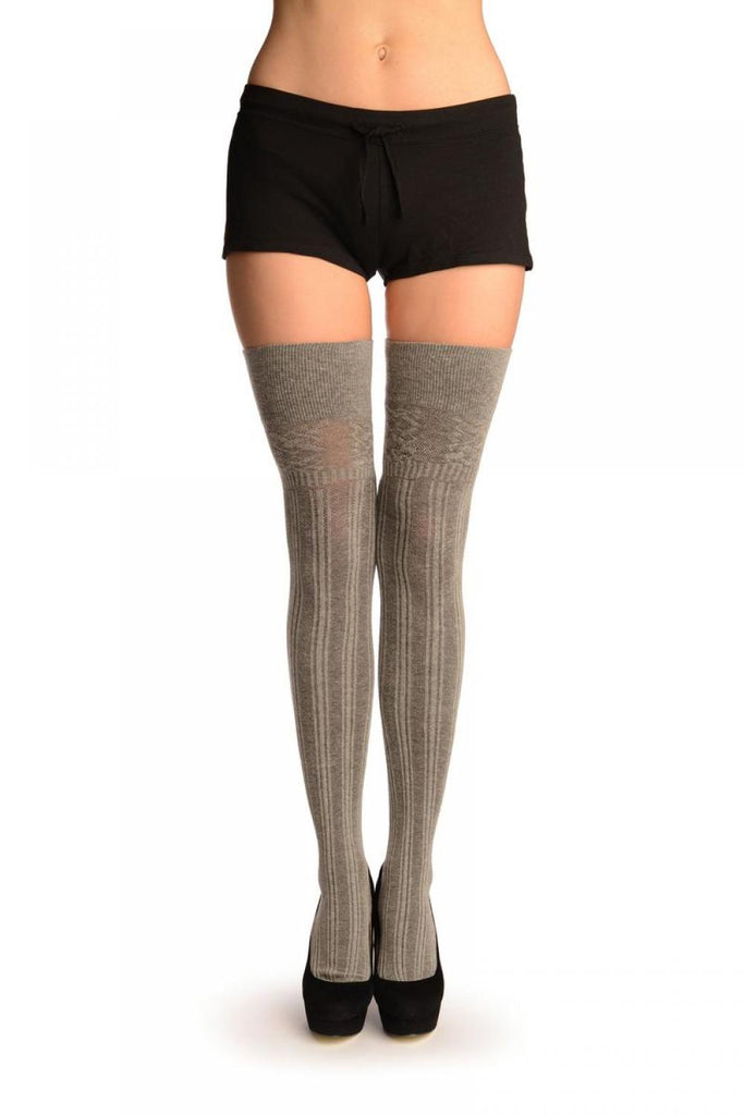 Grey Ribbed (Winter) Over The Knee