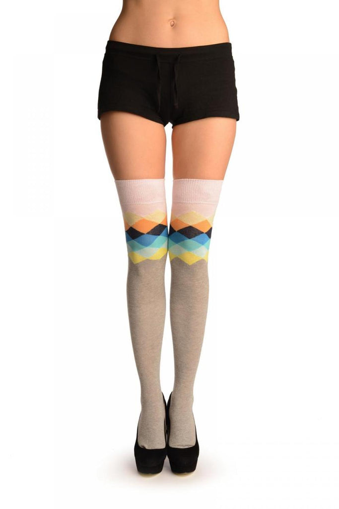 Grey With Pink Harlequin Top Over The Knee Socks