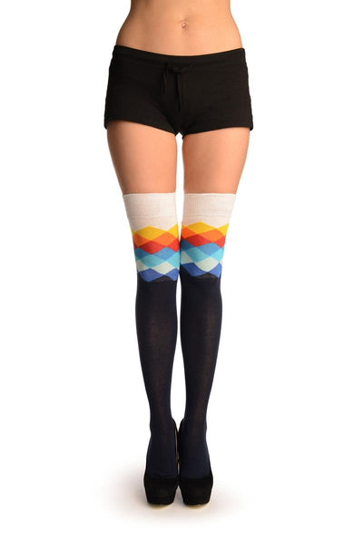 Oxford Blue With White Harlequin Top Over The Knee Socks