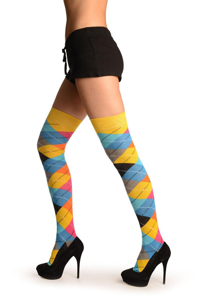 Yellow, Orange, Grey, Blue & Black Argyle Over The Knee Socks