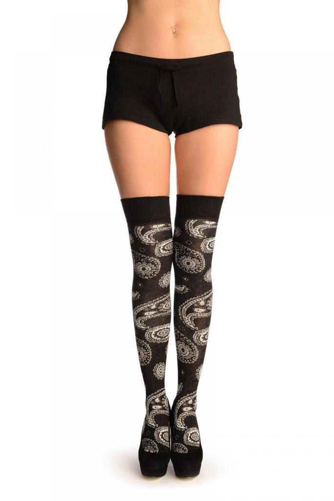 Black With Woven White Paisleys Over The Knee Socks