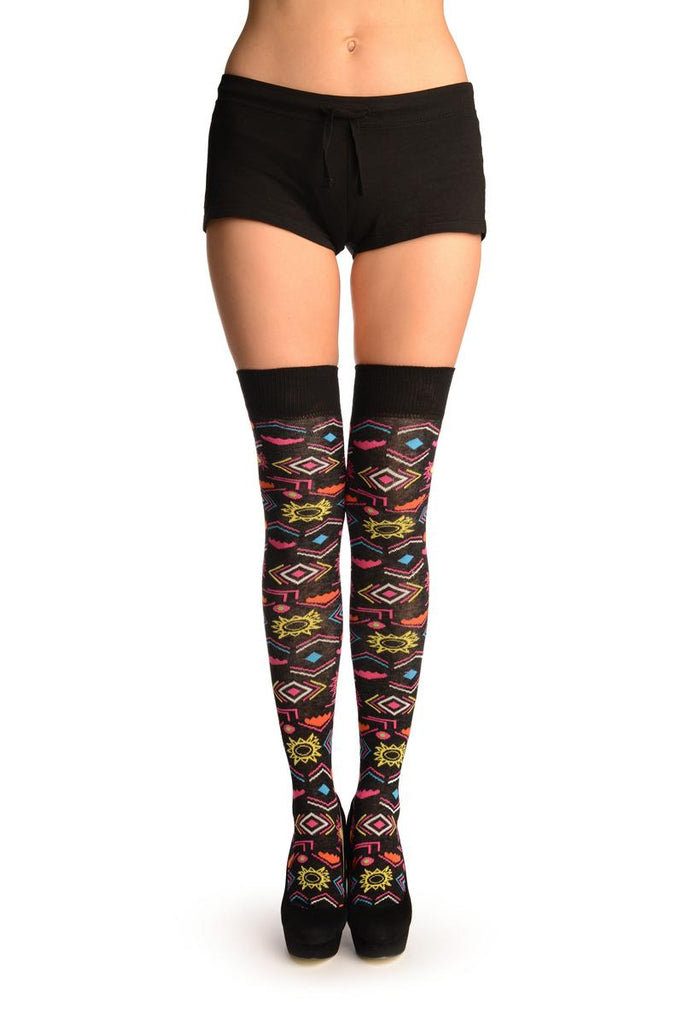 Black With Colourful Aztec Stencils Over The Knee Socks