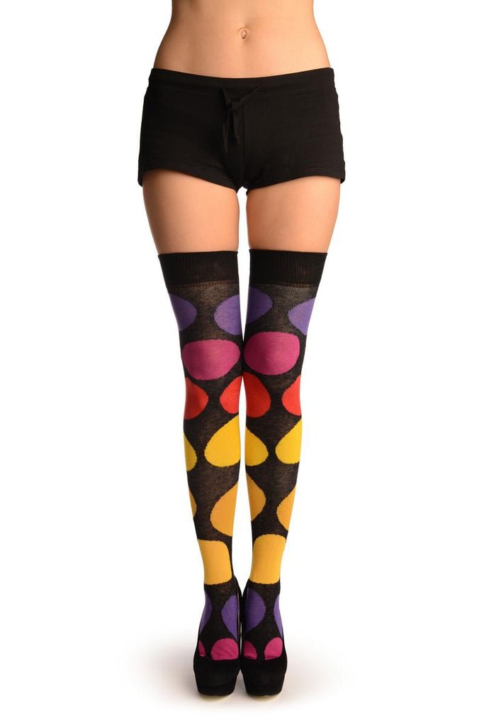 Black With Large Rainbow Polka Dots Over The Knee Socks