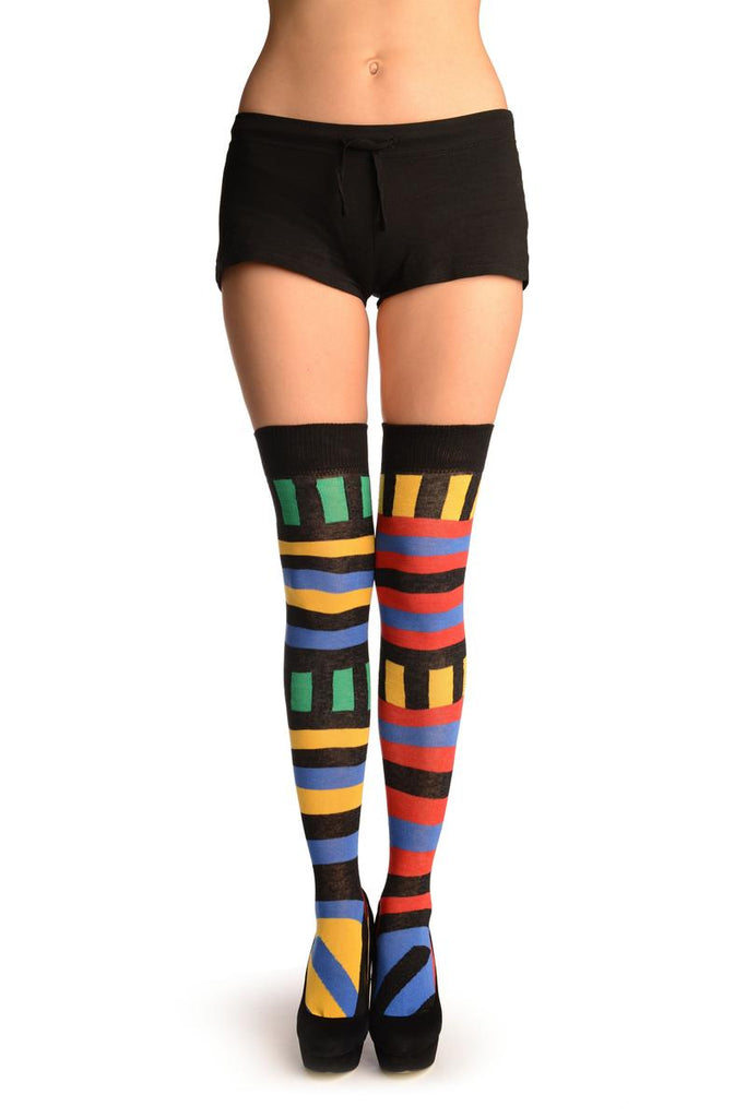 Asymmetrical With Horizontal And Vertical Stripes Over The Knee Socks
