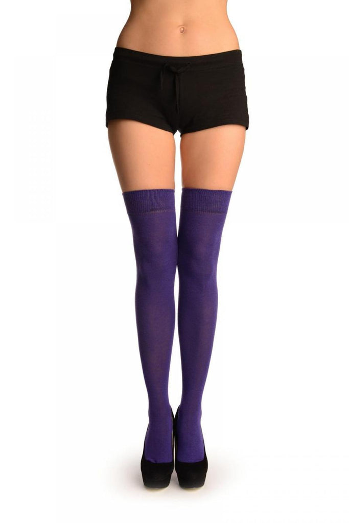Plain Purple Over The Knee Socks