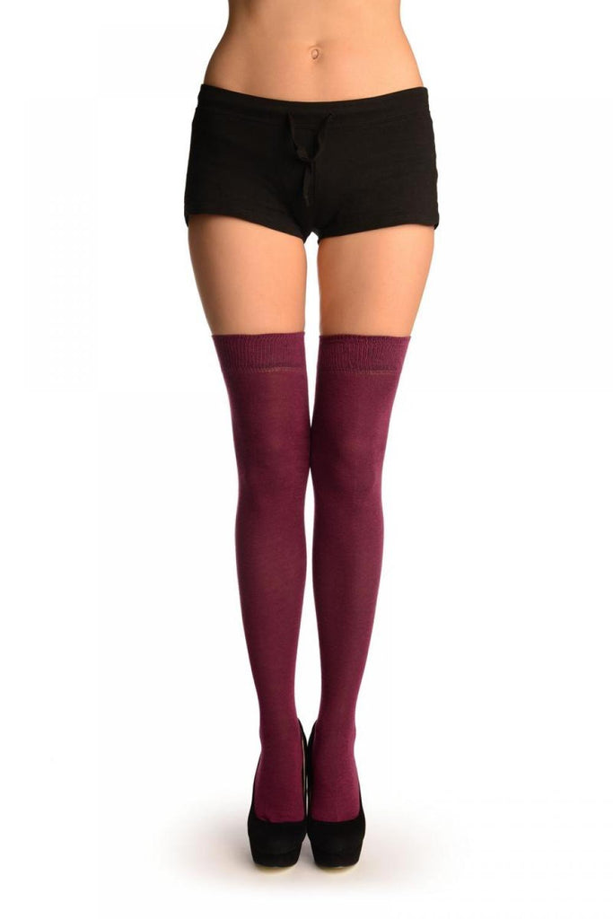 Plain Maroon Over The Knee Socks