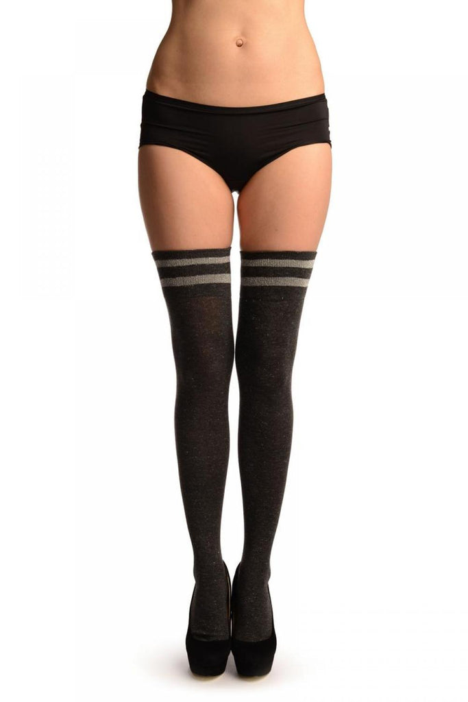 Dark Grey With Silver Lurex & Stripes Over The Knee Socks