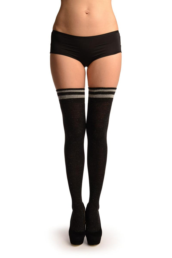 Black With Silver Lurex & Stripes Over The Knee Socks