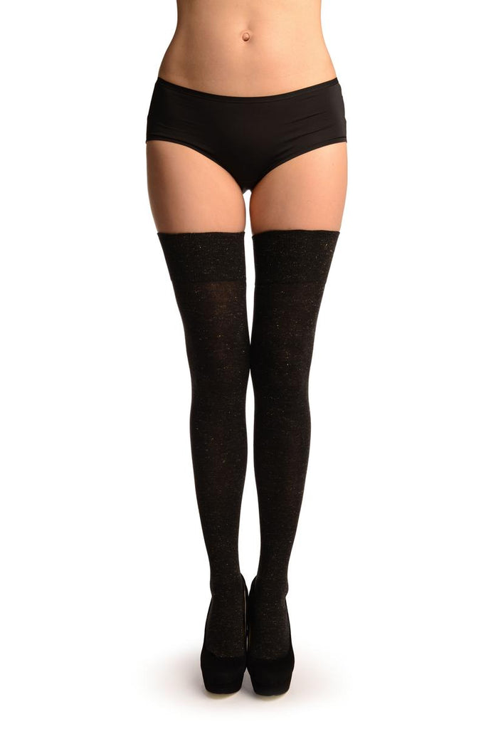 Black With Gold Lurex Over The Knee Socks