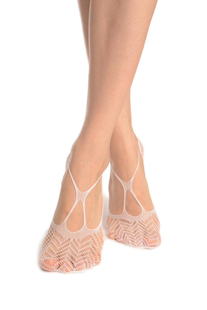 White Chrochet Lace With Straps Footies
