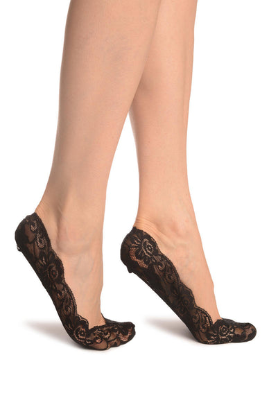 Black All Over Floral Lace Footies