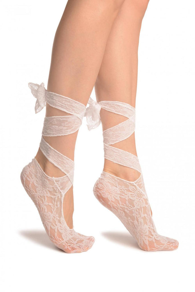 White Stretch Lace Ballet Pointe Footies