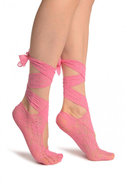 Pink Stretch Lace Ballet Pointe Footies