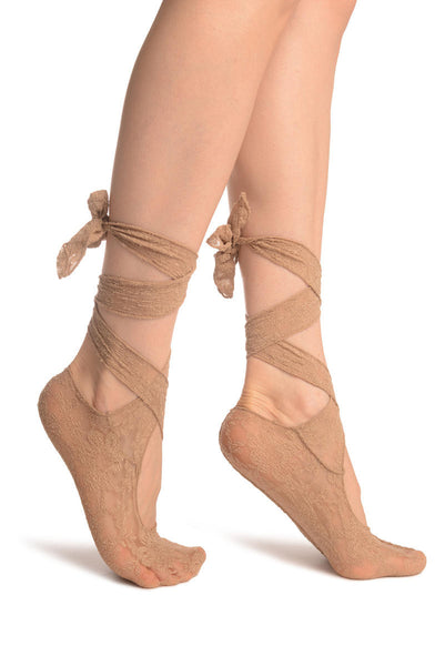 Beige Stretch Lace Ballet Pointe Footies