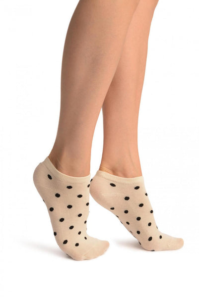 Black Polka Dot On Cream Footies Socks