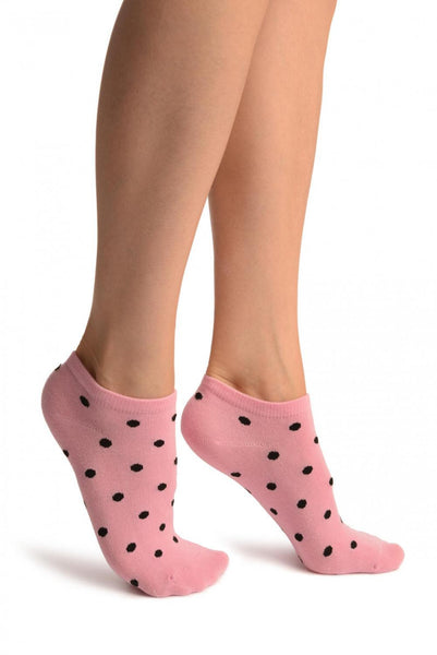 Black Polka Dot On Pink Footies Socks