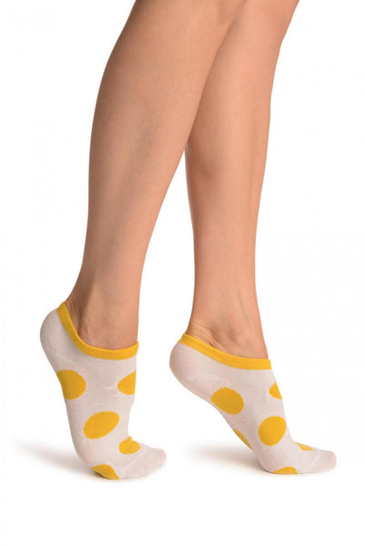White With Large Yellow Polka Dot Footies Socks