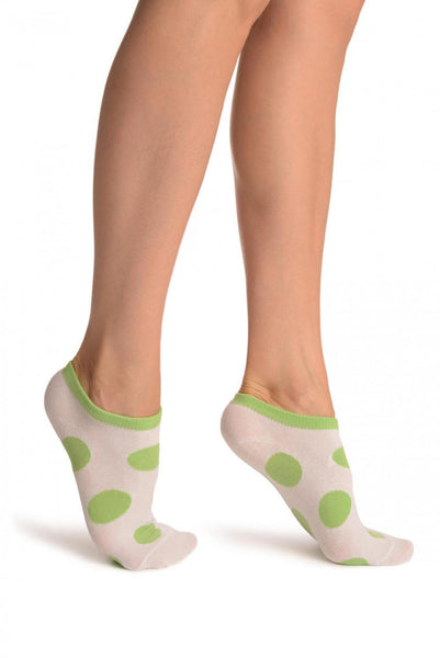 White With Large Green Polka Dot Footies Socks