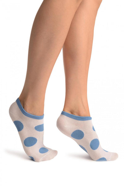 White With Large Blue Polka Dot Footies Socks