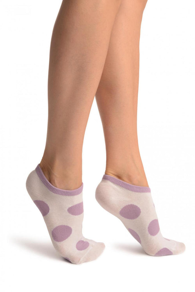 White With Large Purple Polka Dot Footies Socks