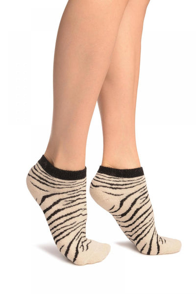 Beige Zebra Angora Footies Socks