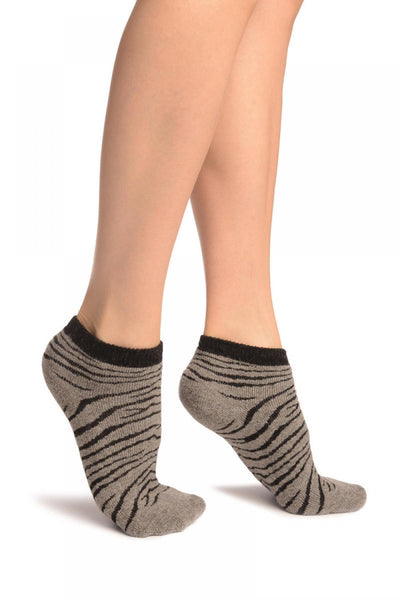 Grey Zebra Angora Footies Socks