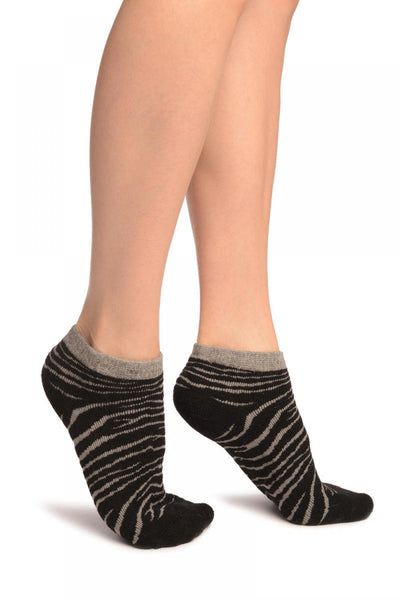 Black Zebra Angora Footies Socks