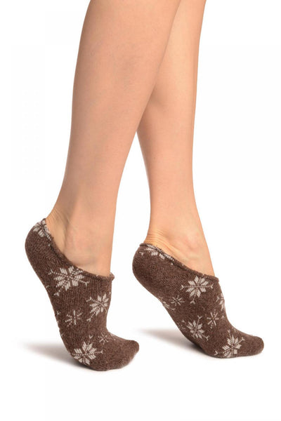 White Snowflakes On Brown Angora Footies Socks