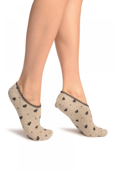 Hearts On Grey With Lace Trim Angora Footies Socks