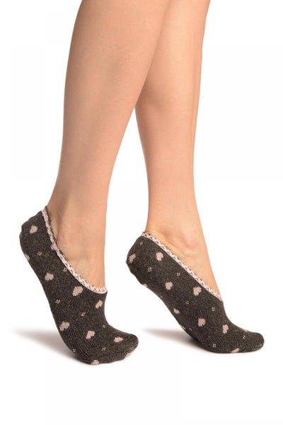 Hearts On Dark Grey With Lace Trim Angora Footies Socks