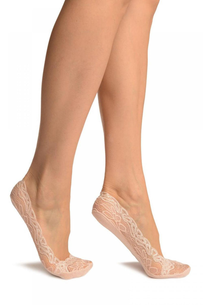 Cream Flower Petals Lace With Silicon Grip & Cotton Sole Footsies