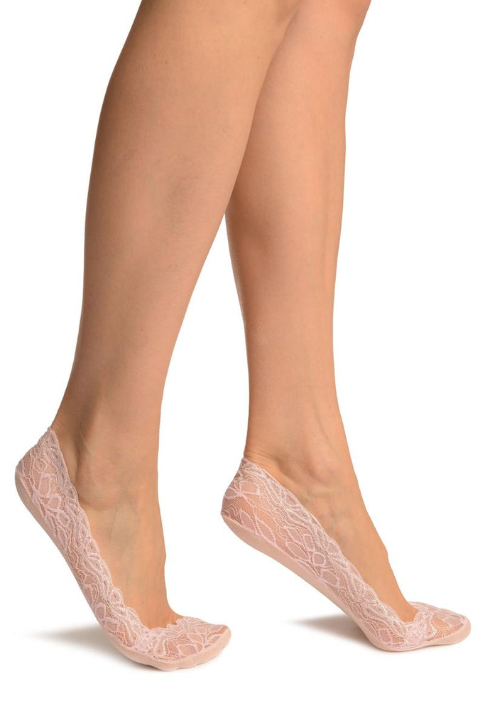 Pink Flower Petals Lace With Silicon Grip & Cotton Sole Footsies