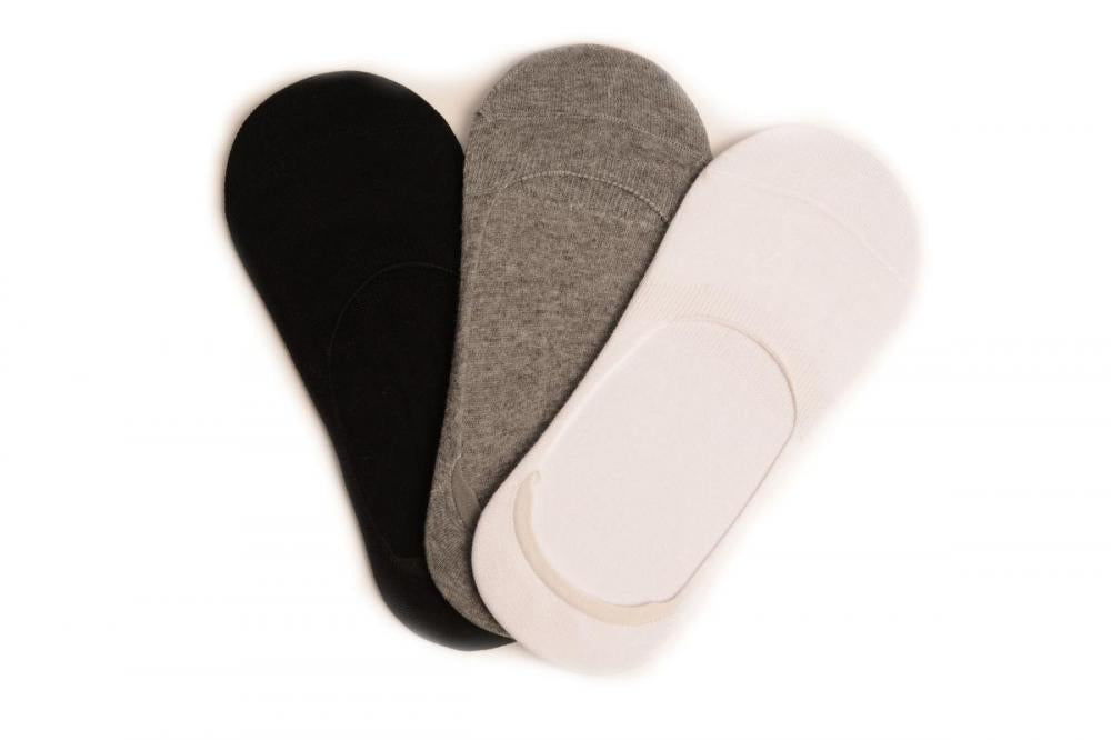 White, Grey & Black Cotton Footsies (3 Pairs)