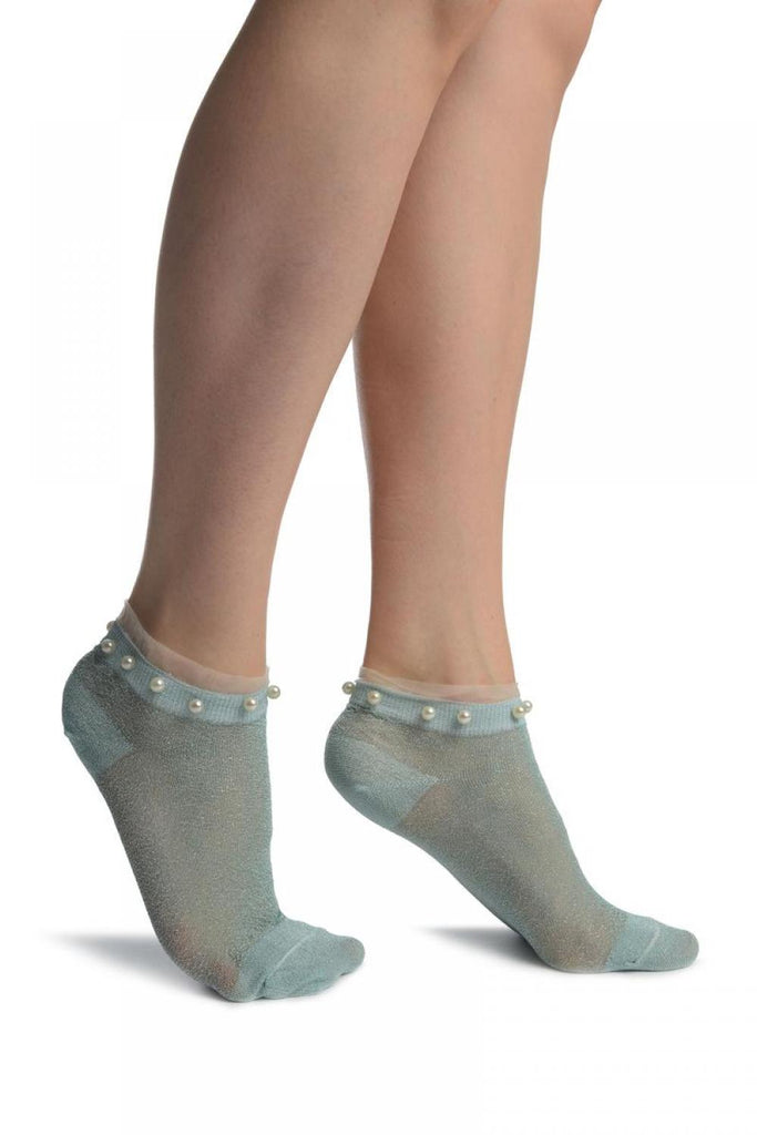 Powder Blue With Lurex, Pearls & Frills Top Footsies Socks