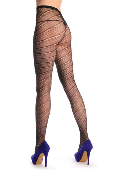 Semi Transparent & Black Diagonal Lines Fishnet