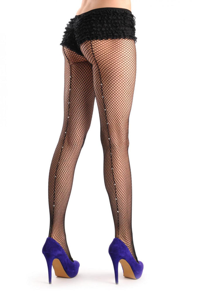 Black Fishnet With Back Crystals Seam